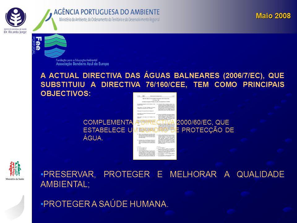 A ACTUAL DIRECTIVA DAS ÁGUAS BALNEARES (2006/7/EC), QUE SUBSTITUIU A DIRECTIVA 76/160/CEE, TEM COMO PRINCIPAIS OBJECTIVOS: •PRESERVAR, PROTEGER E MELH