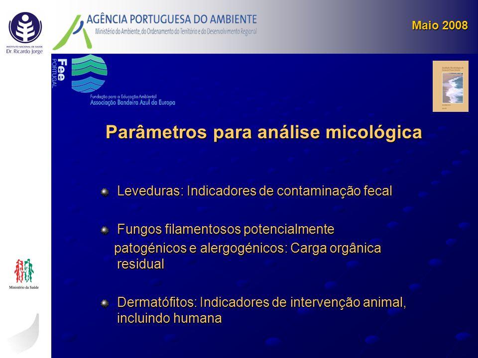Leveduras: Indicadores de contaminação fecal Fungos filamentosos potencialmente patogénicos e alergogénicos: Carga orgânica residual patogénicos e ale
