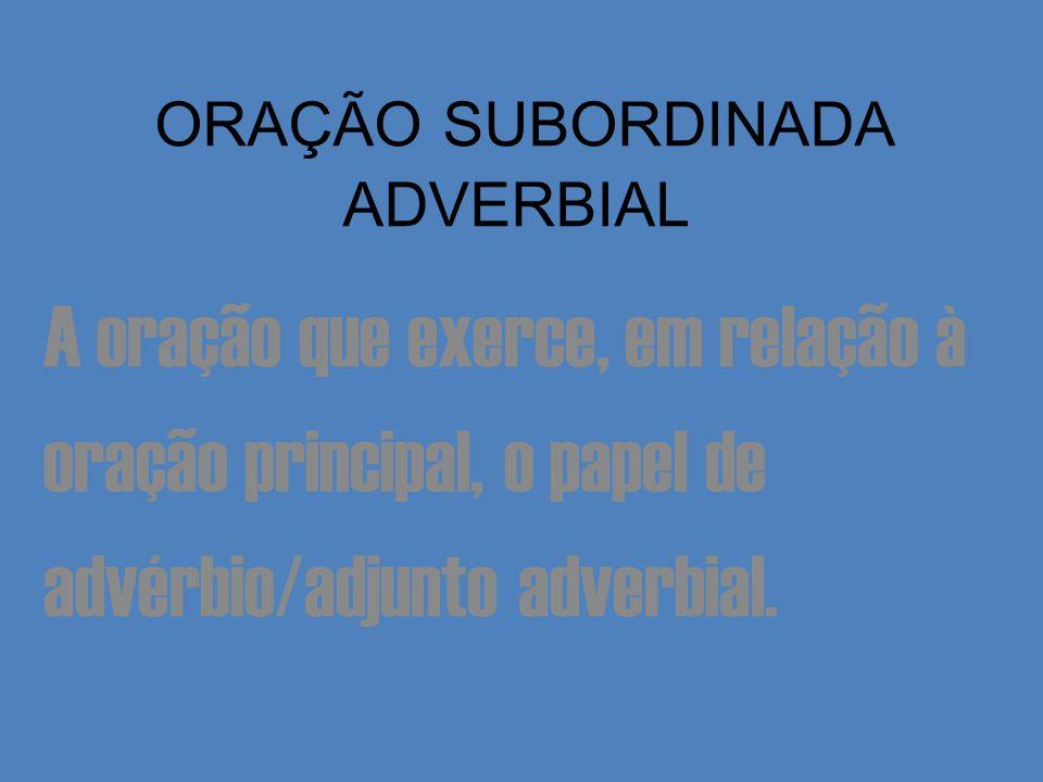 ORAÇÃO SUBORDINADA ADVERBIAL A oração que exerce, em relação à oração principal, o papel de advérbio/adjunto adverbial.