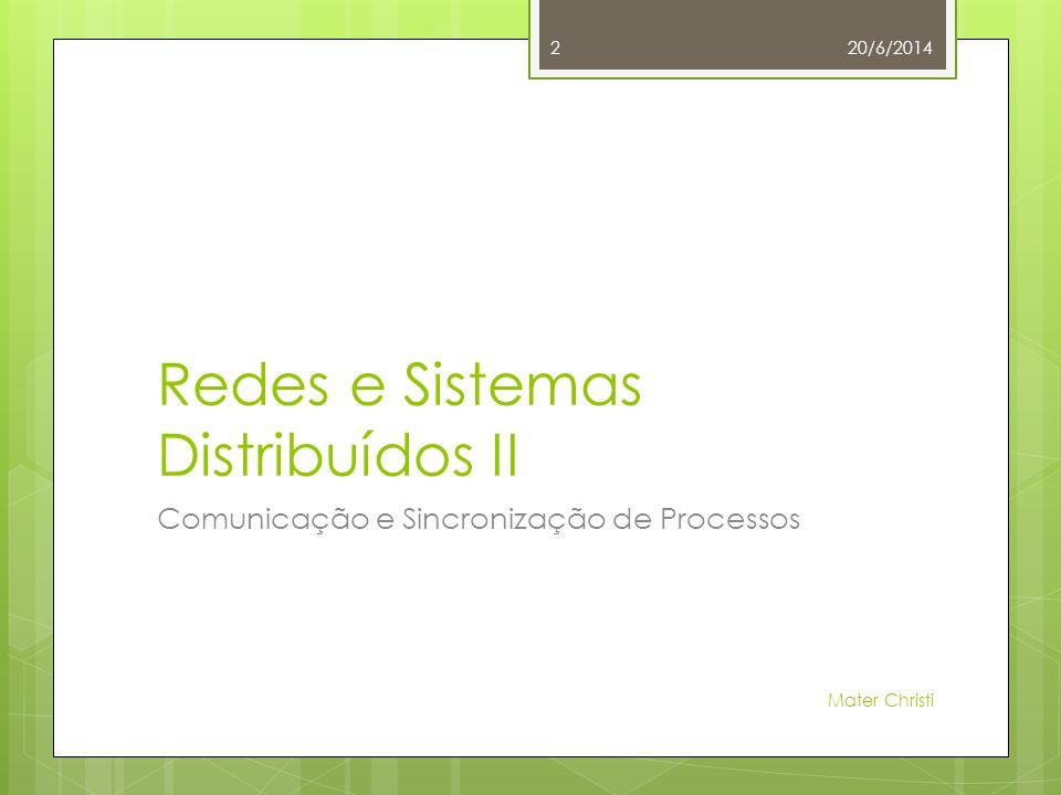 Redes e Sistemas Distribuídos II Comunicação e Sincronização de Processos 20/6/2014 Mater Christi 2