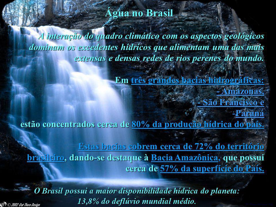 Dr. Glaucio Gonçalves Tiago Água no Brasil Água no Brasil A interação do quadro climático com os aspectos geológicos dominam os excedentes hídricos qu