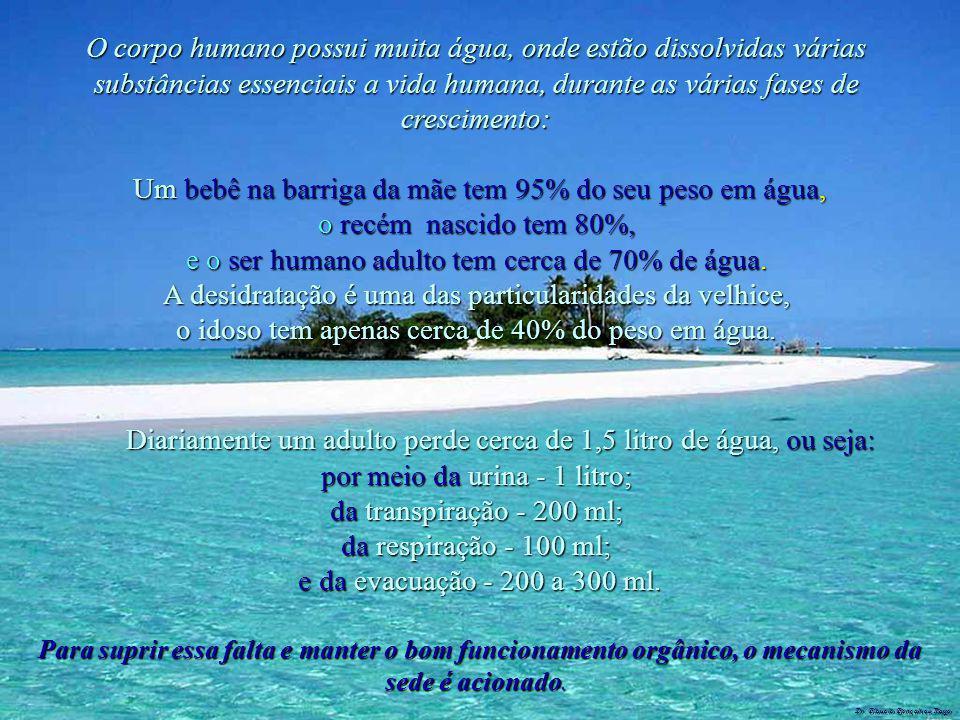 Dr. Glaucio Gonçalves Tiago O corpo humano possui muita água, onde estão dissolvidas várias substâncias essenciais a vida humana, durante as várias fa
