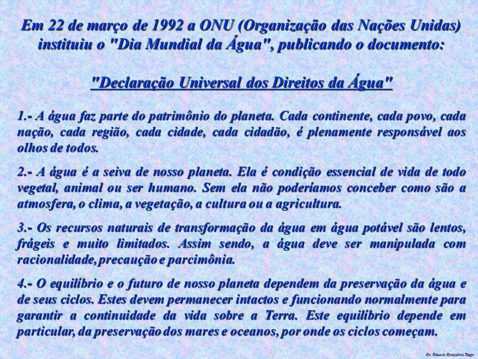 Dr. Glaucio Gonçalves Tiago Em 22 de março de 1992 a ONU (Organização das Nações Unidas) instituiu o
