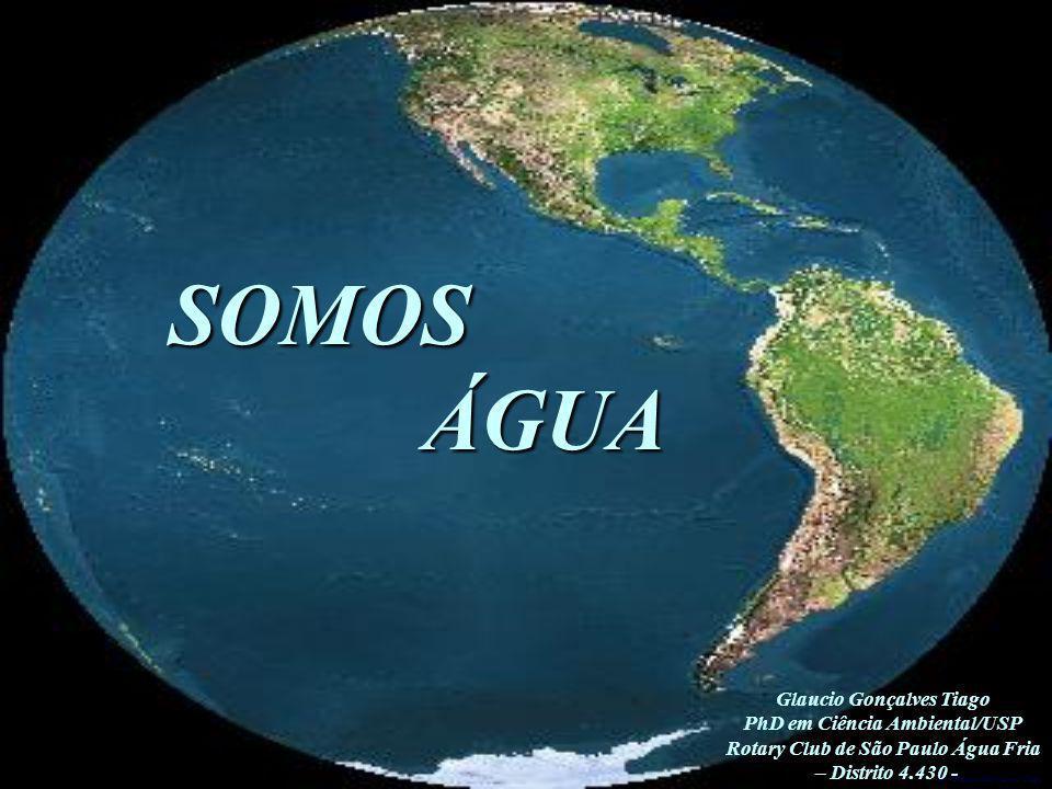 SOMOS ÁGUA ÁGUA Glaucio Gonçalves Tiago PhD em Ciência Ambiental/USP Rotary Club de São Paulo Água Fria – Distrito 4.430 -