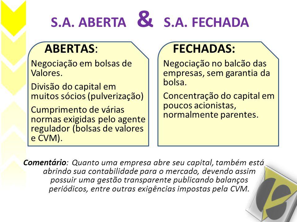 S.A. ABERTA & S.A. FECHADA ABERTAS: FECHADAS: Negociação em bolsas de Valores. Comentário: Quanto uma empresa abre seu capital, também está abrindo su