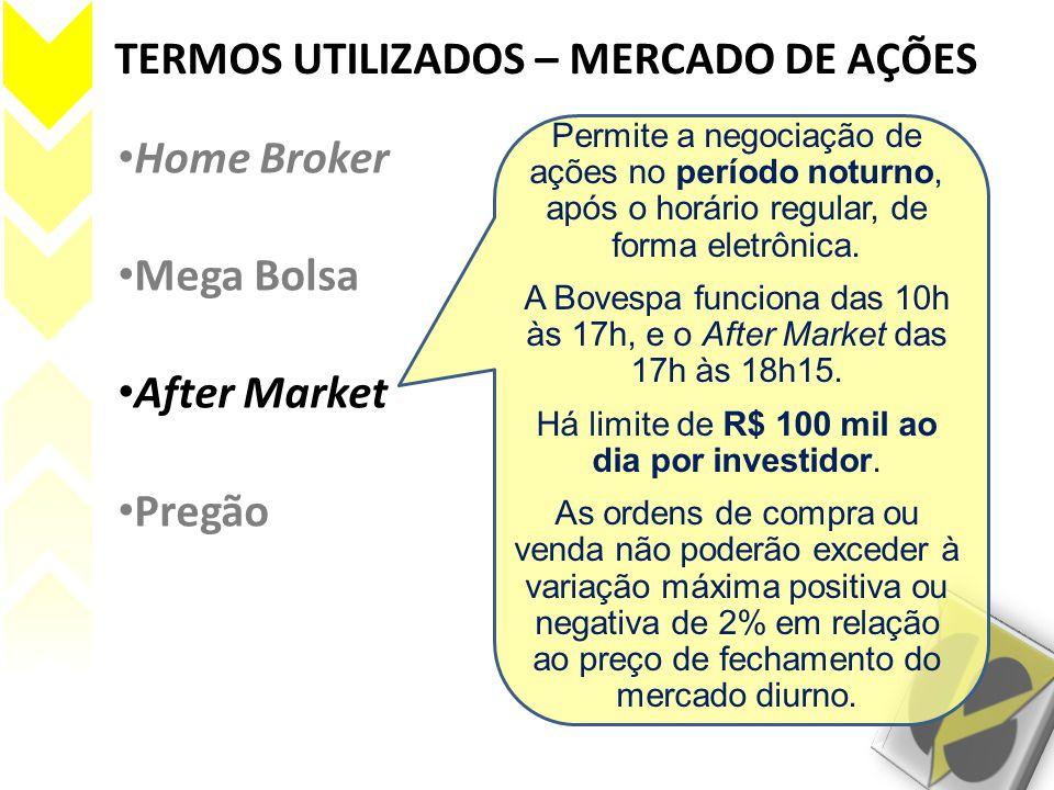 TERMOS UTILIZADOS – MERCADO DE AÇÕES • Home Broker • Mega Bolsa • After Market • Pregão Permite a negociação de ações no período noturno, após o horár