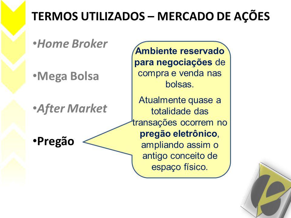 TERMOS UTILIZADOS – MERCADO DE AÇÕES • Home Broker • Mega Bolsa • After Market • Pregão Ambiente reservado para negociações de compra e venda nas bols