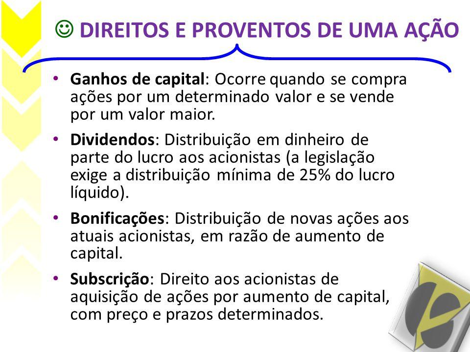  DIREITOS E PROVENTOS DE UMA AÇÃO • Ganhos de capital: Ocorre quando se compra ações por um determinado valor e se vende por um valor maior. • Divide