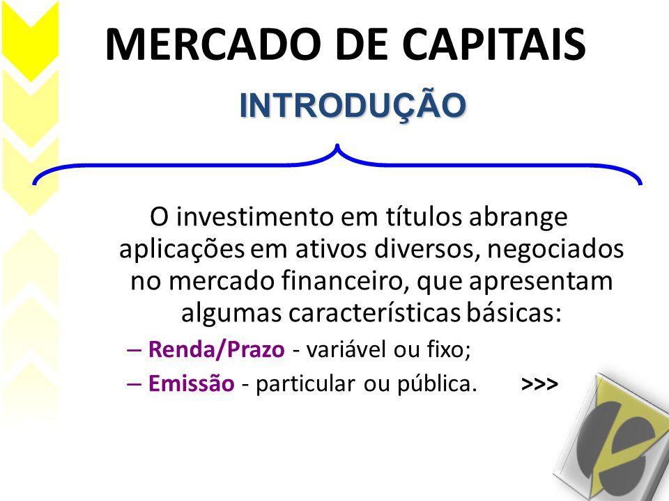 MERCADO DE CAPITAIS O investimento em títulos abrange aplicações em ativos diversos, negociados no mercado financeiro, que apresentam algumas caracter