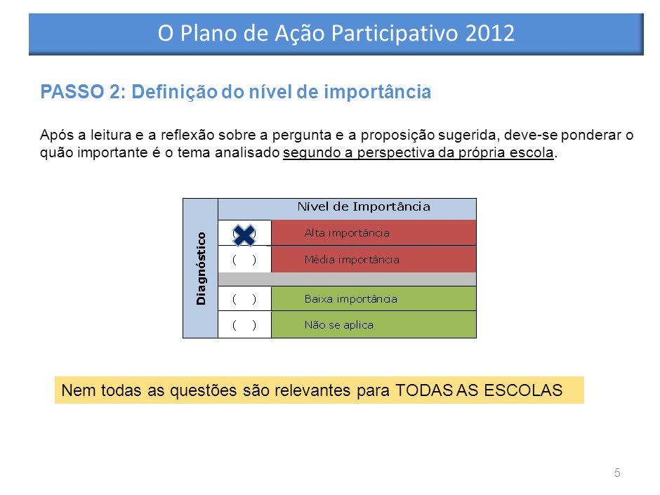 5 PASSO 2: Definição do nível de importância Após a leitura e a reflexão sobre a pergunta e a proposição sugerida, deve-se ponderar o quão importante é o tema analisado segundo a perspectiva da própria escola.