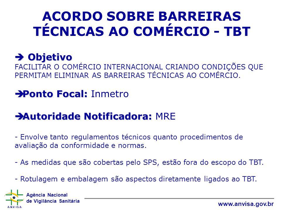Agência Nacional de Vigilância Sanitária www.anvisa.gov.br ACORDO SOBRE BARREIRAS TÉCNICAS AO COMÉRCIO - TBT  Objetivo FACILITAR O COMÉRCIO INTERNACI