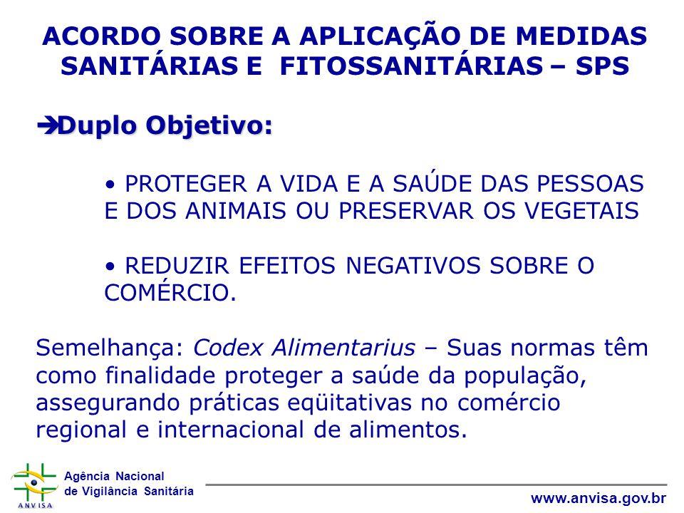 Agência Nacional de Vigilância Sanitária www.anvisa.gov.br ACORDO SOBRE A APLICAÇÃO DE MEDIDAS SANITÁRIAS E FITOSSANITÁRIAS – SPS  Duplo Objetivo: •