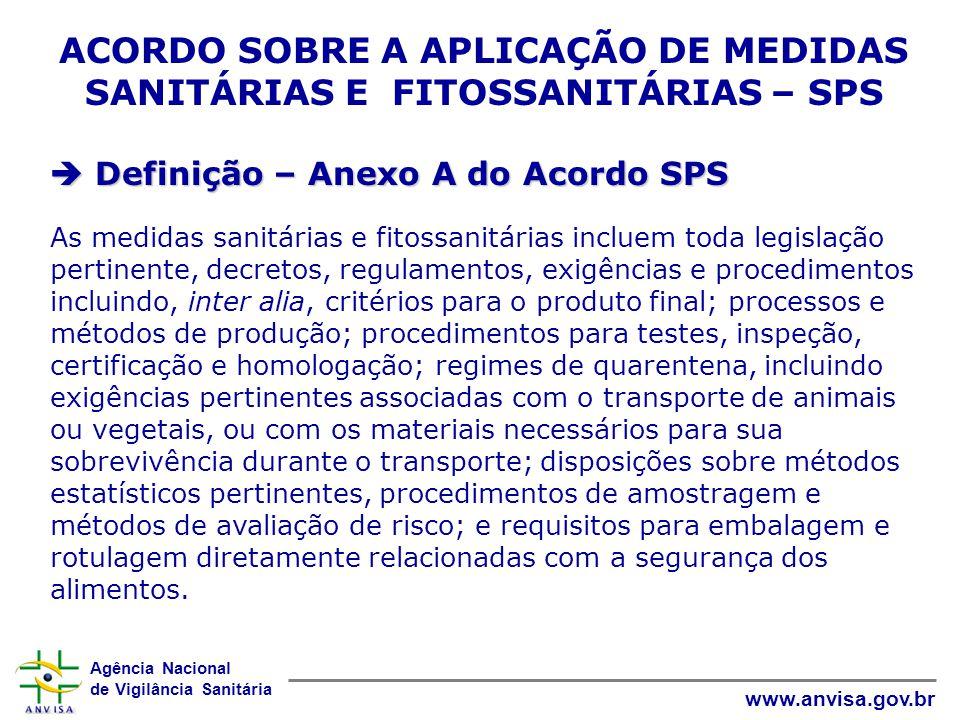 Agência Nacional de Vigilância Sanitária www.anvisa.gov.br ACORDO SOBRE A APLICAÇÃO DE MEDIDAS SANITÁRIAS E FITOSSANITÁRIAS – SPS  Definição – Anexo
