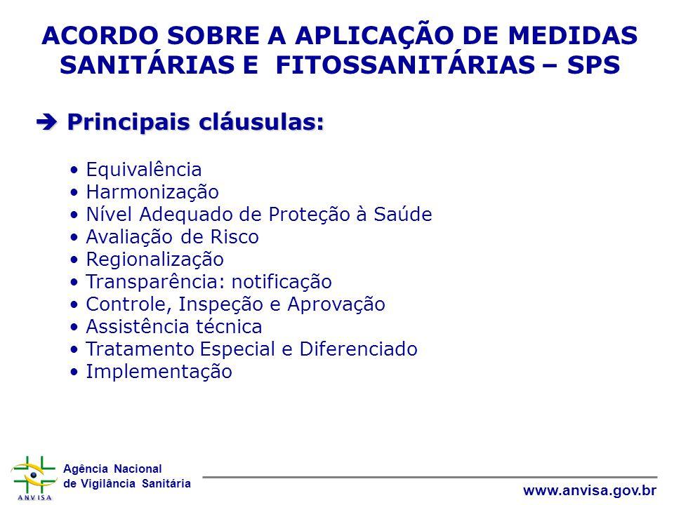 Agência Nacional de Vigilância Sanitária www.anvisa.gov.br ACORDO SOBRE A APLICAÇÃO DE MEDIDAS SANITÁRIAS E FITOSSANITÁRIAS – SPS  Principais cláusul