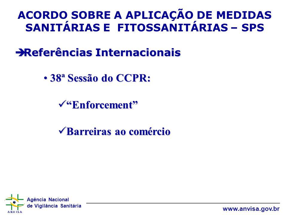 Agência Nacional de Vigilância Sanitária www.anvisa.gov.br ACORDO SOBRE A APLICAÇÃO DE MEDIDAS SANITÁRIAS E FITOSSANITÁRIAS – SPS  Referências Intern