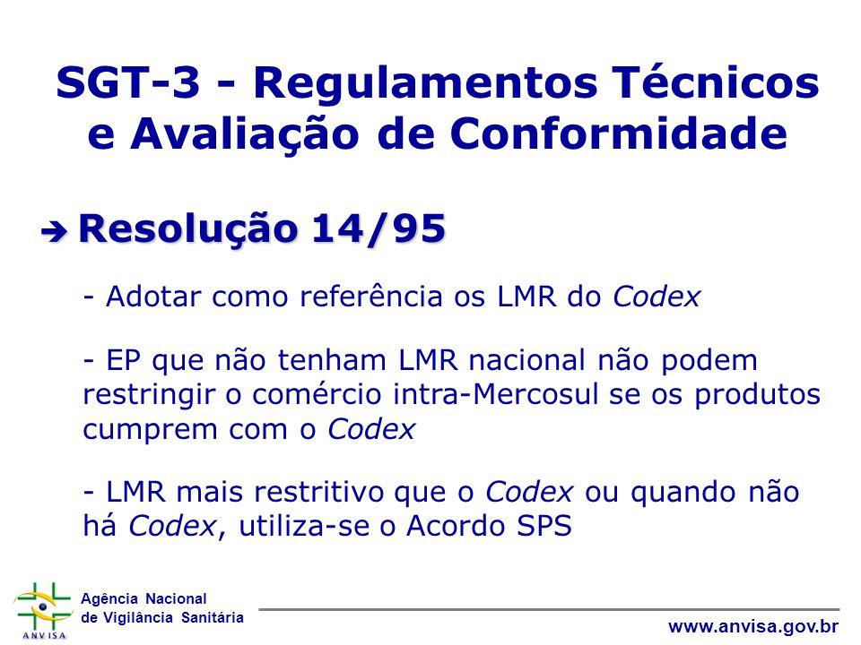 Agência Nacional de Vigilância Sanitária www.anvisa.gov.br SGT-3 - Regulamentos Técnicos e Avaliação de Conformidade  Resolução 14/95 - Adotar como r