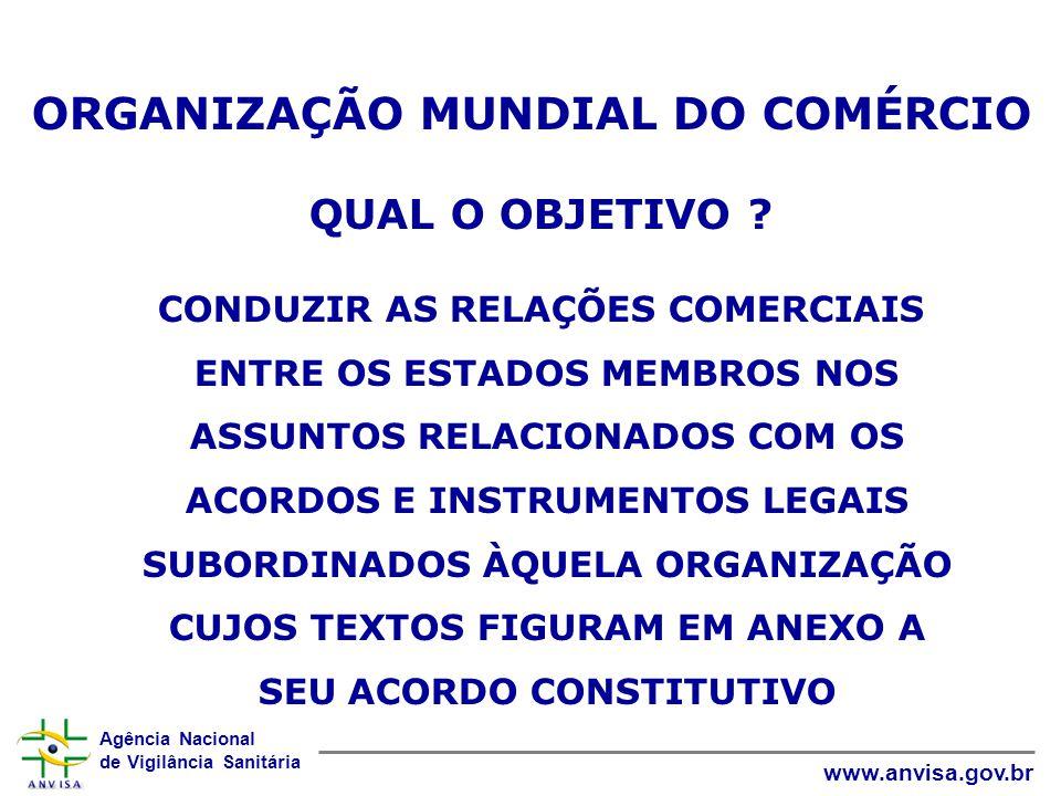 Agência Nacional de Vigilância Sanitária www.anvisa.gov.br ORGANIZAÇÃO MUNDIAL DO COMÉRCIO QUAL O OBJETIVO .