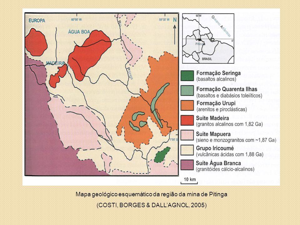 Mapa geológico esquemático da região da mina de Pitinga (COSTI, BORGES & DALL'AGNOL, 2005)