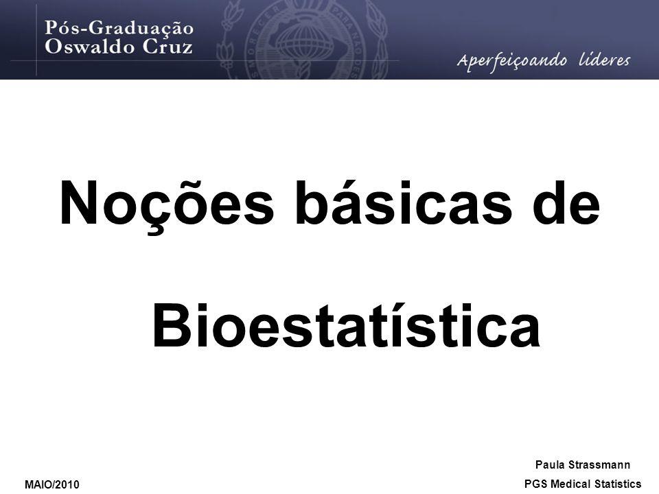 População Amostragem Inferência amostra Estimação de parâmetros Teste de hipóteses A distinção entre amostra e população é a chave para a melhor compreensão da estatística. Paula Strassmann PGS Medical Statistics MAIO/2010