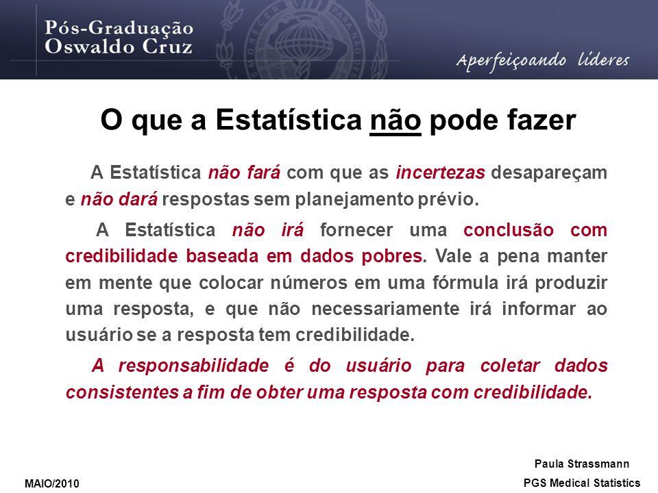 O que a Estatística não pode fazer A Estatística não fará com que as incertezas desapareçam e não dará respostas sem planejamento prévio. A Estatístic