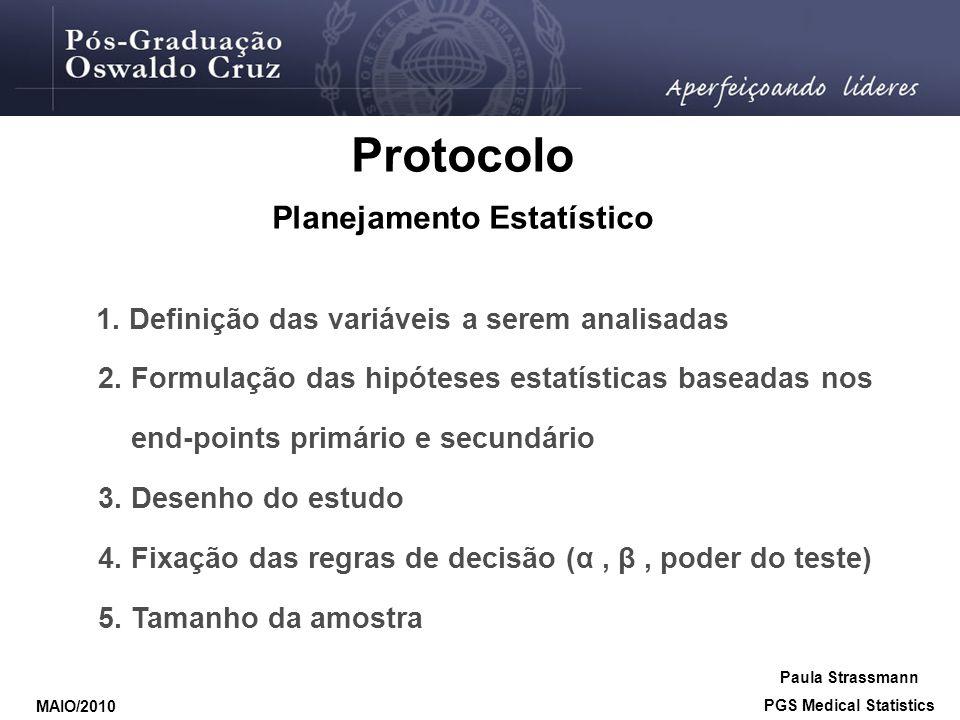 Protocolo Planejamento Estatístico 1. Definição das variáveis a serem analisadas 2. Formulação das hipóteses estatísticas baseadas nos end-points prim