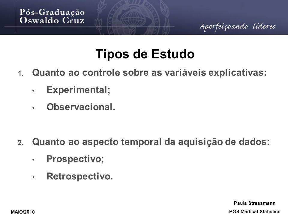 Tipos de Estudo 1. Quanto ao controle sobre as variáveis explicativas: • Experimental; • Observacional. 2. Quanto ao aspecto temporal da aquisição de