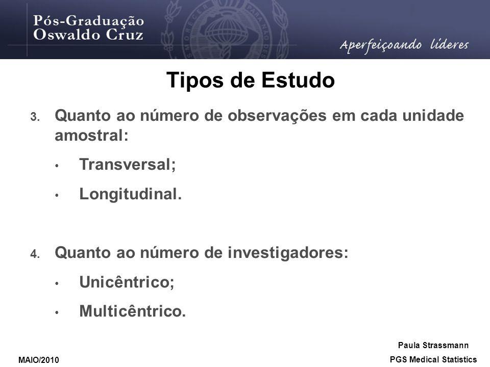 Tipos de Estudo 3. Quanto ao número de observações em cada unidade amostral: • Transversal; • Longitudinal. 4. Quanto ao número de investigadores: • U
