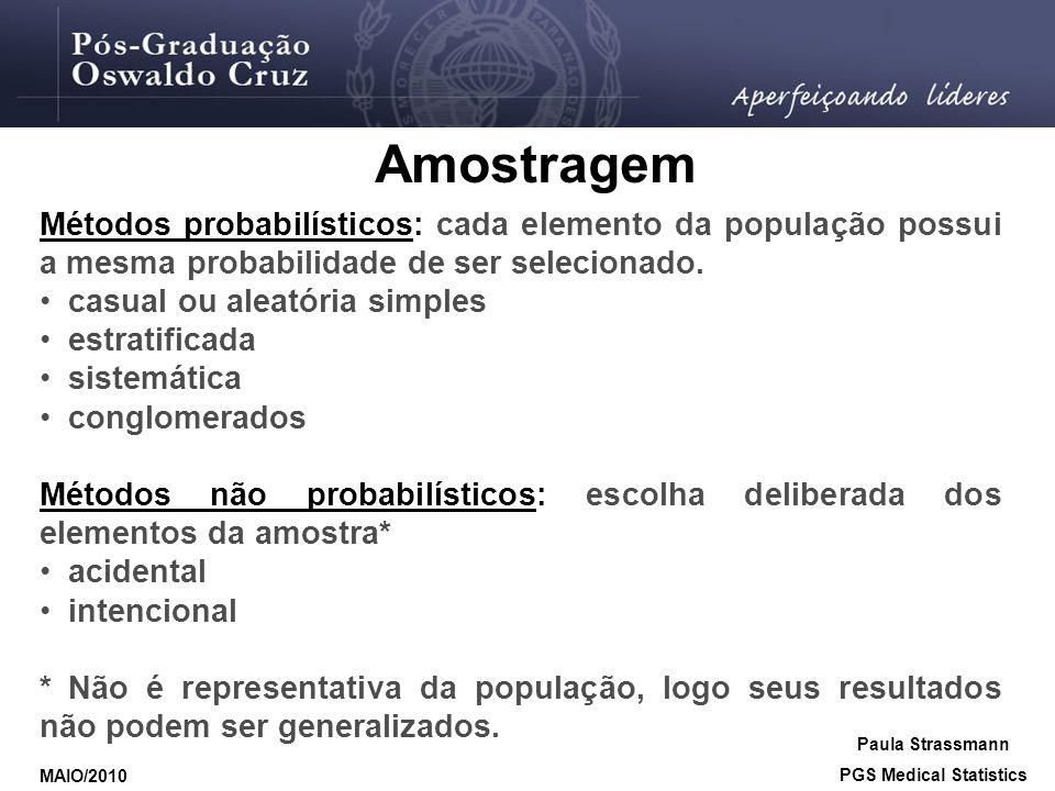 Métodos probabilísticos: cada elemento da população possui a mesma probabilidade de ser selecionado. • casual ou aleatória simples • estratificada • s
