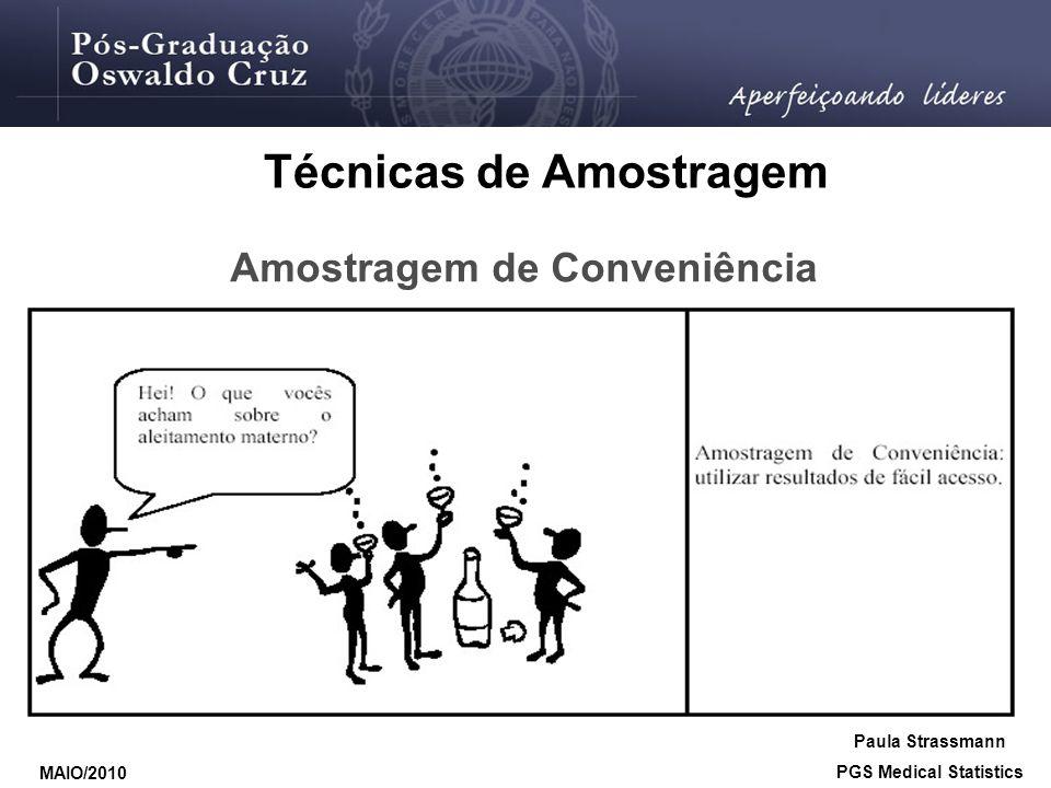 Amostragem de Conveniência Técnicas de Amostragem Paula Strassmann PGS Medical Statistics MAIO/2010
