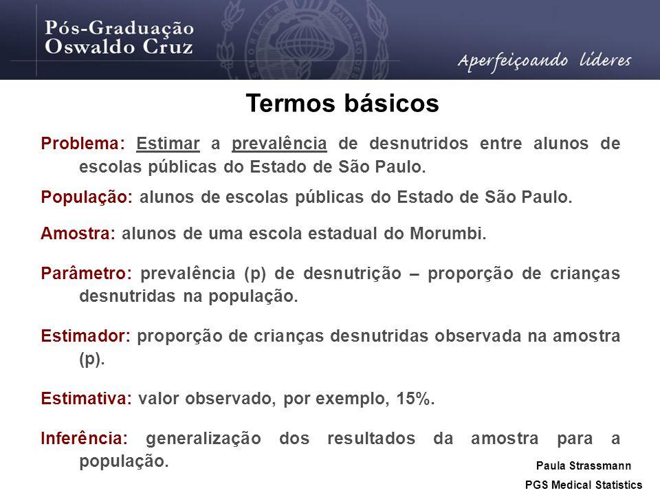 Problema: Estimar a prevalência de desnutridos entre alunos de escolas públicas do Estado de São Paulo. População: alunos de escolas públicas do Estad