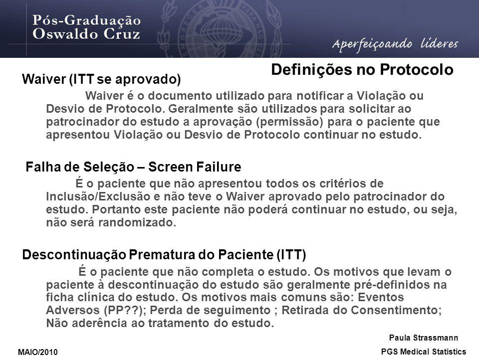 Waiver (ITT se aprovado) Waiver é o documento utilizado para notificar a Violação ou Desvio de Protocolo. Geralmente são utilizados para solicitar ao