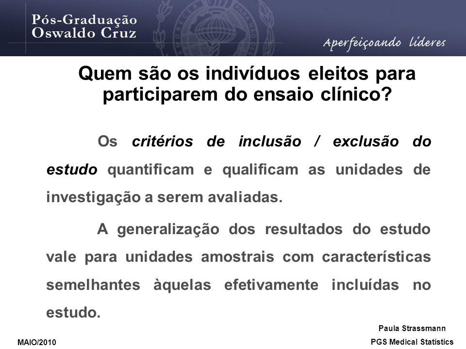 Quem são os indivíduos eleitos para participarem do ensaio clínico? Os critérios de inclusão / exclusão do estudo quantificam e qualificam as unidades