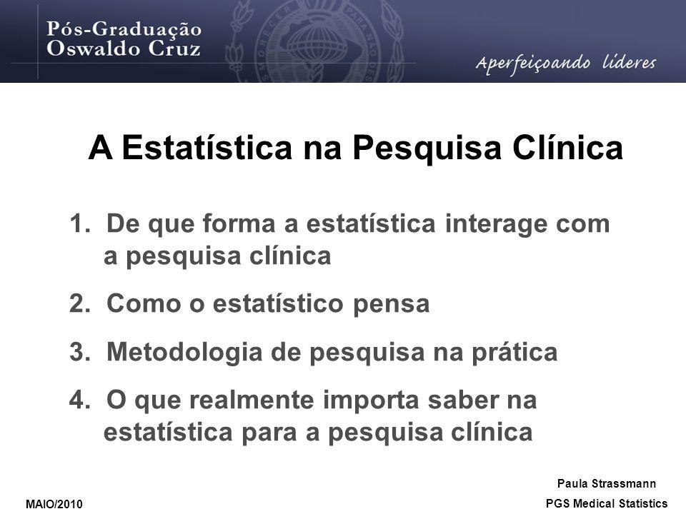 1. De que forma a estatística interage com a pesquisa clínica 2. Como o estatístico pensa 3. Metodologia de pesquisa na prática 4. O que realmente imp