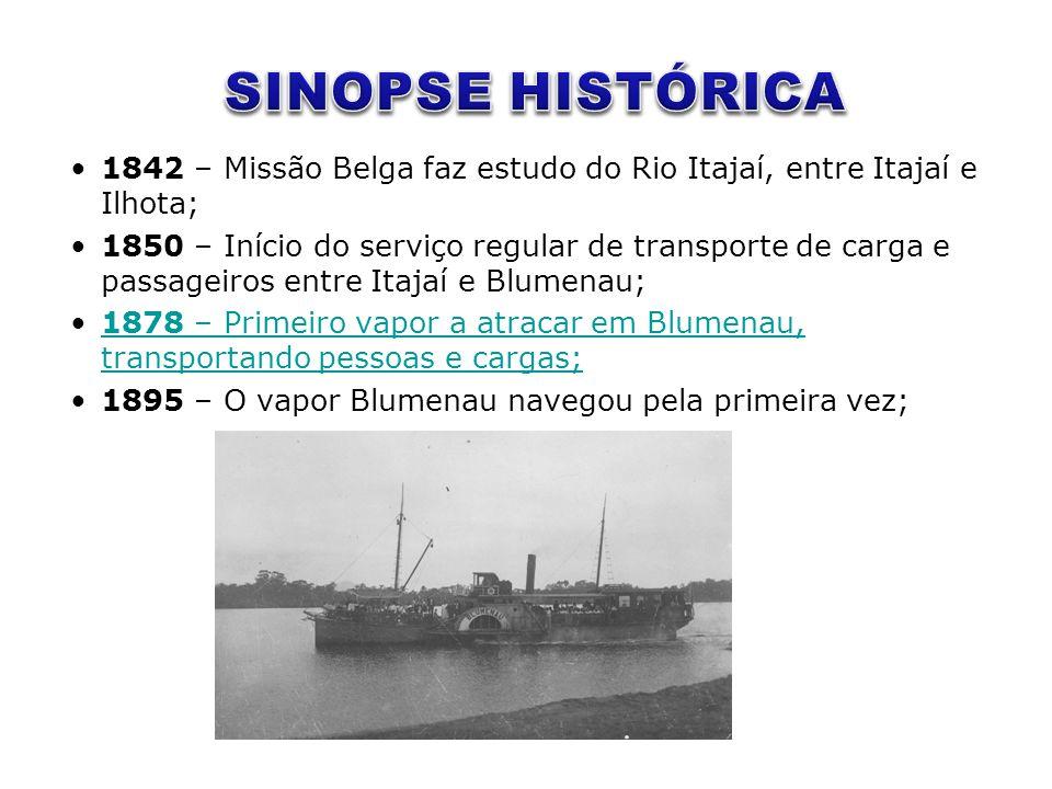 •1842 – Missão Belga faz estudo do Rio Itajaí, entre Itajaí e Ilhota; •1850 – Início do serviço regular de transporte de carga e passageiros entre Ita