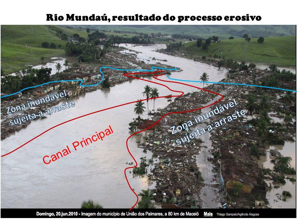 Canal Principal Rio Mundaú, resultado do processo erosivo