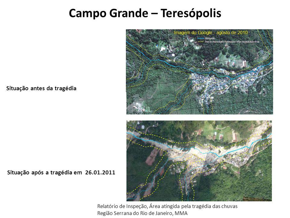 Campo Grande – Teresópolis Situação após a tragédia em 26.01.2011 Situação antes da tragédia Relatório de Inspeção, Área atingida pela tragédia das ch