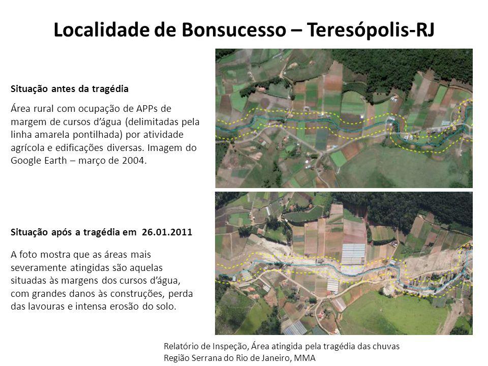 Localidade de Bonsucesso – Teresópolis-RJ Área rural com ocupação de APPs de margem de cursos d'água (delimitadas pela linha amarela pontilhada) por a