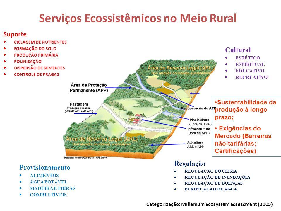 Serviços Ecossistêmicos no Meio Rural Suporte  CICLAGEM DE NUTRIENTES  FORMAÇÃO DO SOLO  PRODUÇÃO PRIMÁRIA  POLINIZAÇÃO  DISPERSÃO DE SEMENTES 