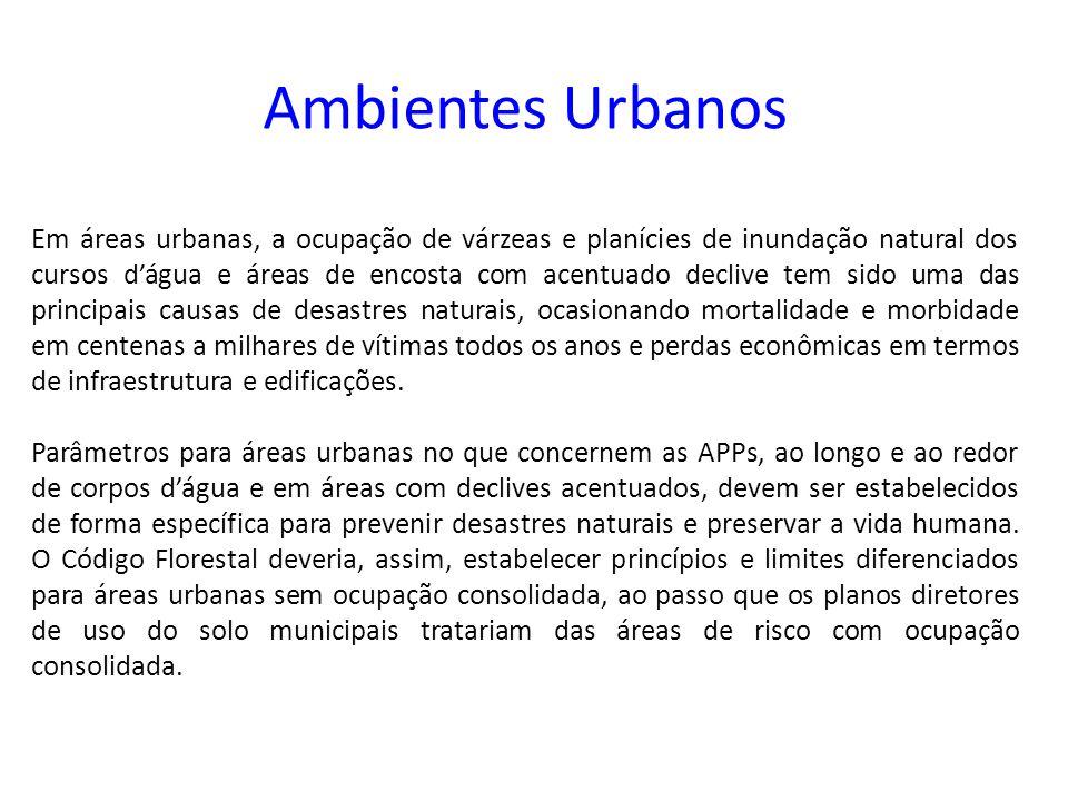 Ambientes Urbanos Em áreas urbanas, a ocupação de várzeas e planícies de inundação natural dos cursos d'água e áreas de encosta com acentuado declive