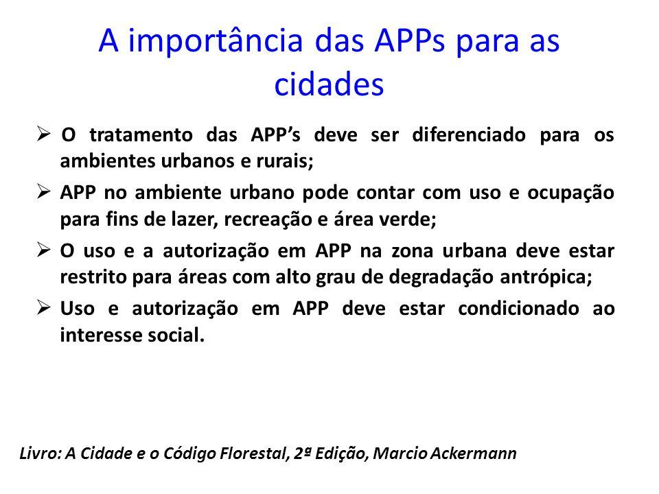 A importância das APPs para as cidades  O tratamento das APP's deve ser diferenciado para os ambientes urbanos e rurais;  APP no ambiente urbano pod