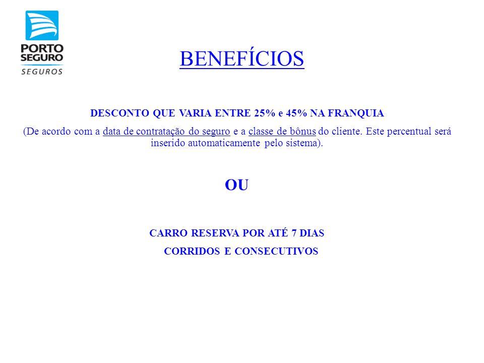 BENEFÍCIOS DESCONTO QUE VARIA ENTRE 25% e 45% NA FRANQUIA (De acordo com a data de contratação do seguro e a classe de bônus do cliente. Este percentu
