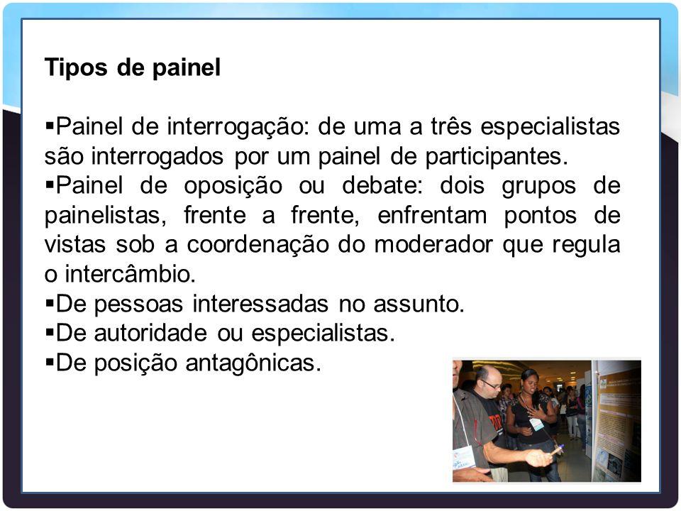 Tipos de painel  Painel de interrogação: de uma a três especialistas são interrogados por um painel de participantes.  Painel de oposição ou debate: