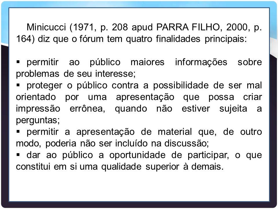 Minicucci (1971, p. 208 apud PARRA FILHO, 2000, p. 164) diz que o fórum tem quatro finalidades principais:  permitir ao público maiores informações s