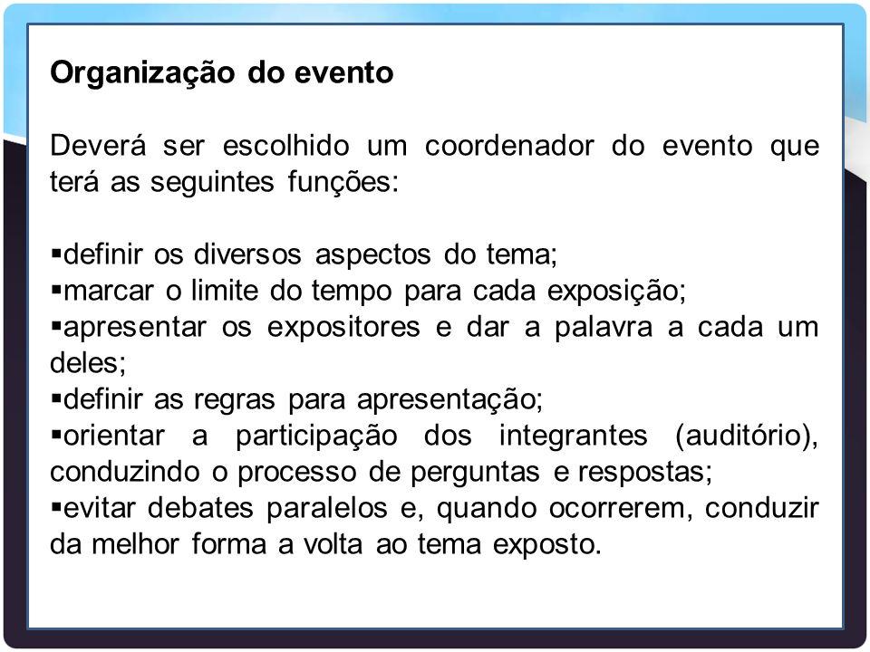 Organização do evento Deverá ser escolhido um coordenador do evento que terá as seguintes funções:  definir os diversos aspectos do tema;  marcar o