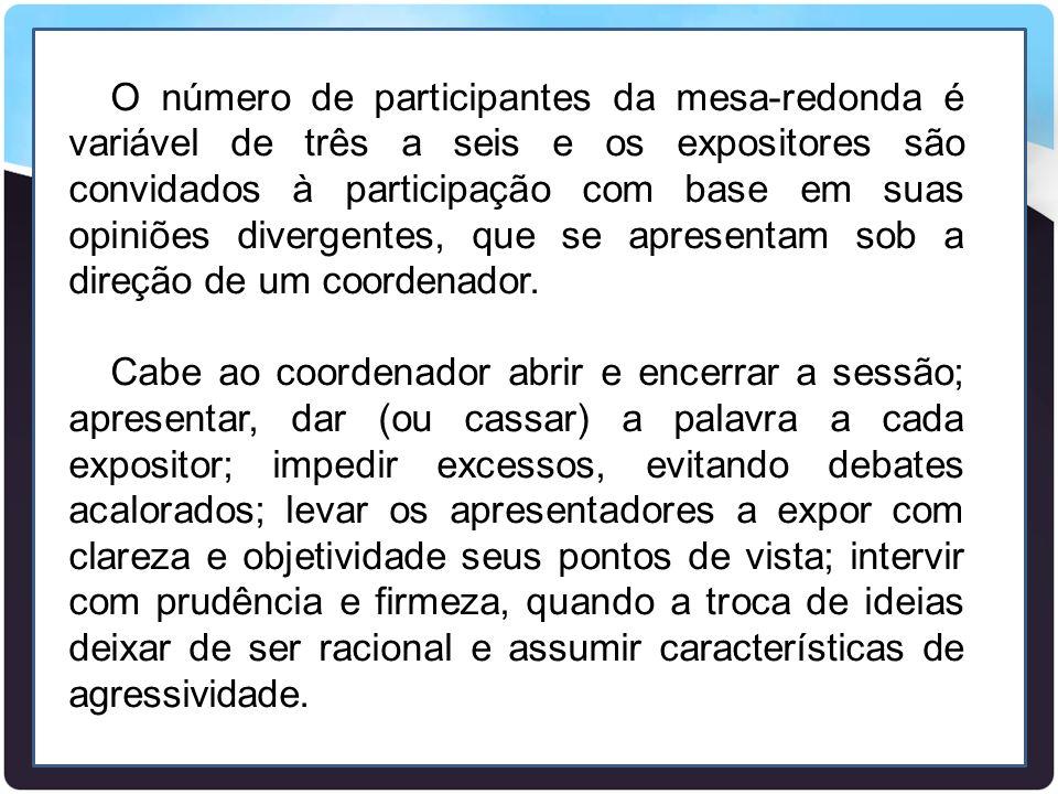 O número de participantes da mesa-redonda é variável de três a seis e os expositores são convidados à participação com base em suas opiniões divergent