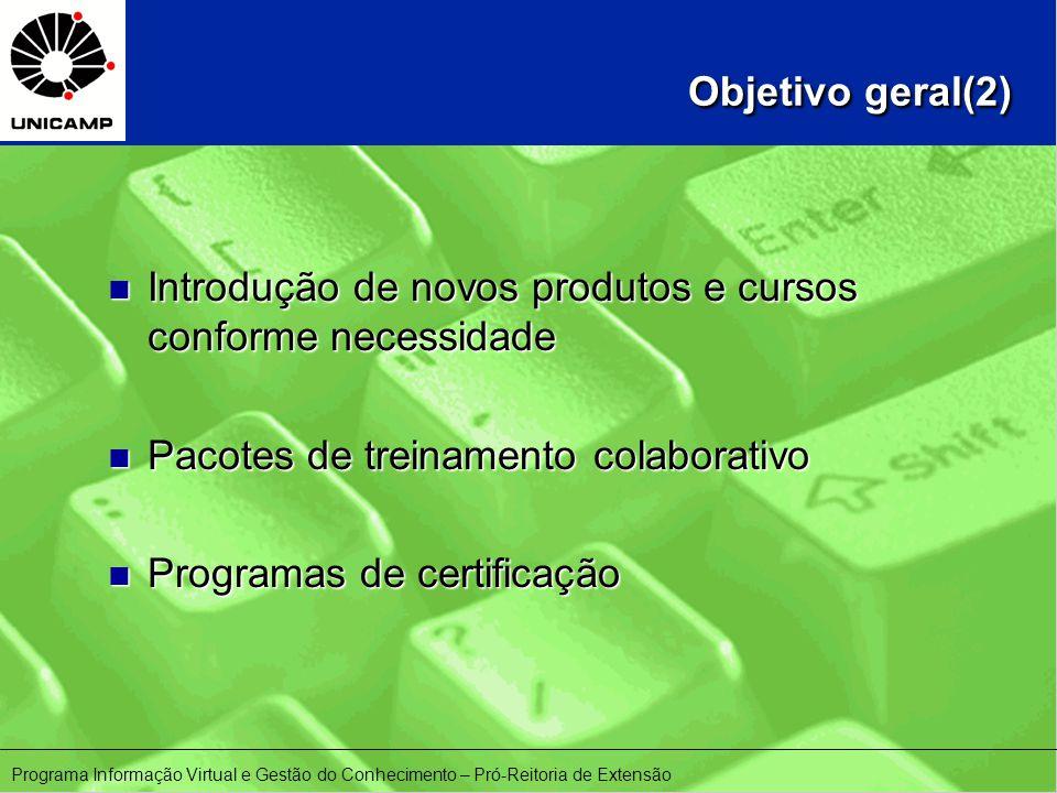 Objetivo geral(2) Objetivo geral(2) n Introdução de novos produtos e cursos conforme necessidade n Pacotes de treinamento colaborativo n Programas de certificação Programa Informação Virtual e Gestão do Conhecimento – Pró-Reitoria de Extensão