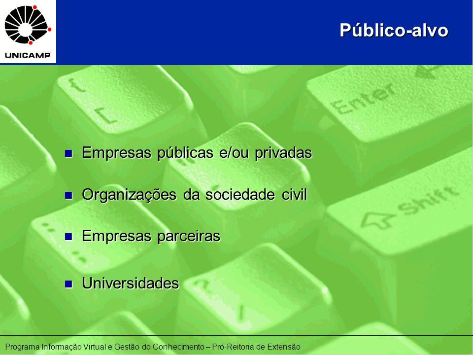 Público-alvo n Empresas públicas e/ou privadas n Organizações da sociedade civil n Empresas parceiras n Universidades Programa Informação Virtual e Gestão do Conhecimento – Pró-Reitoria de Extensão