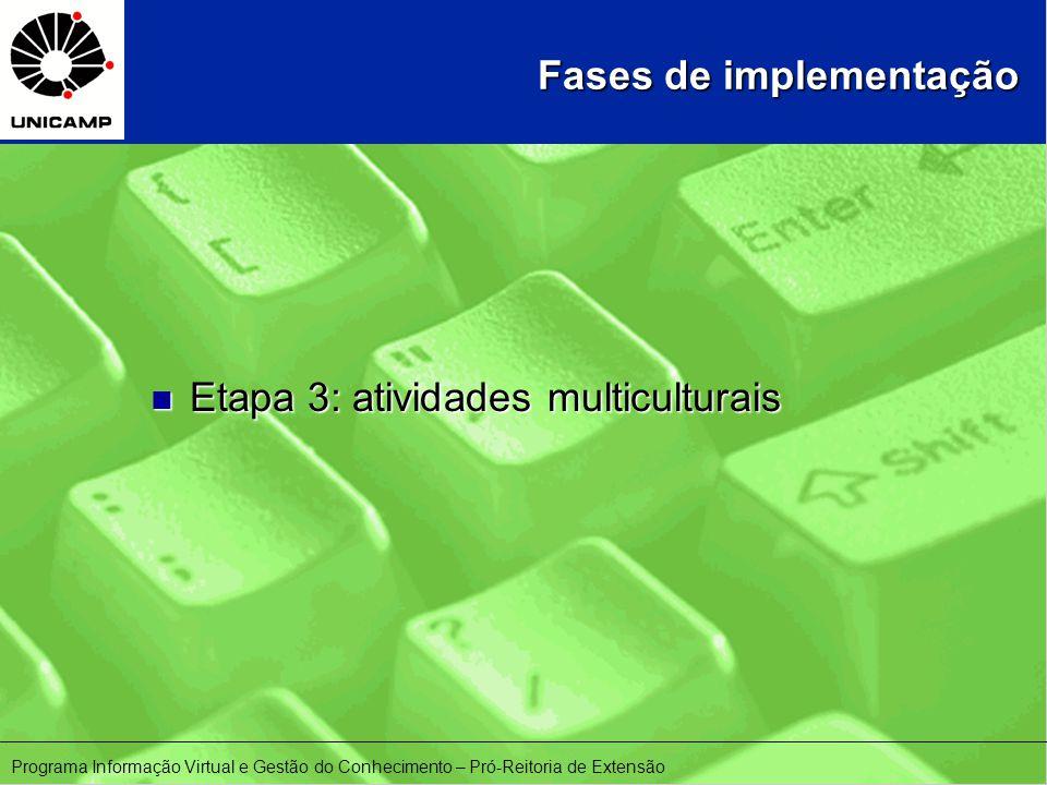 Fases de implementação n Etapa 3: atividades multiculturais Programa Informação Virtual e Gestão do Conhecimento – Pró-Reitoria de Extensão
