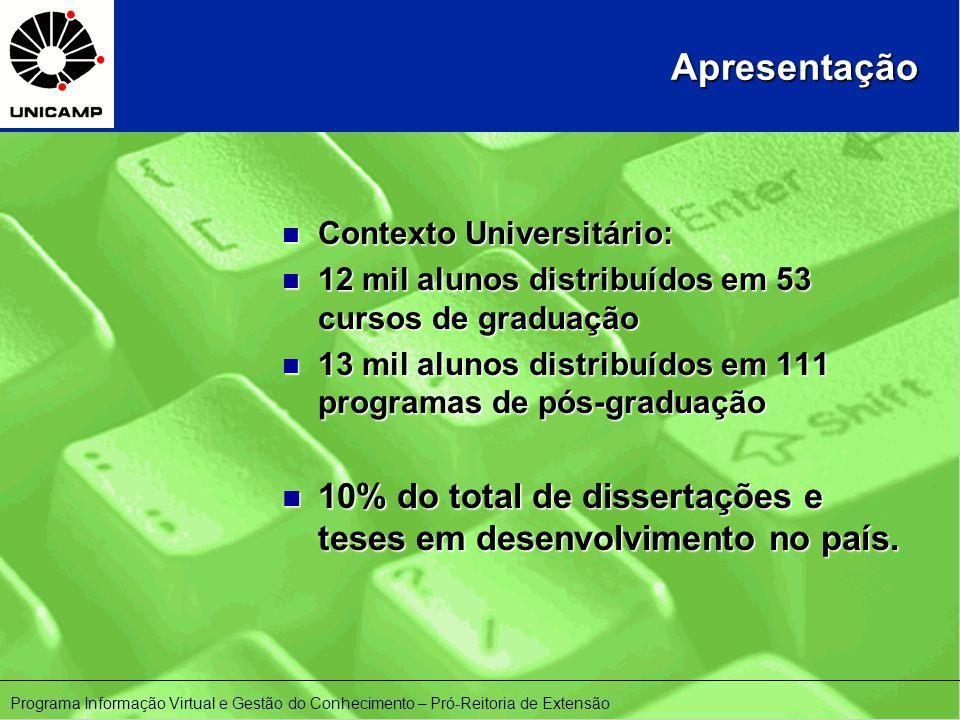 Apresentação n Contexto Universitário: n 12 mil alunos distribuídos em 53 cursos de graduação n 13 mil alunos distribuídos em 111 programas de pós-graduação n 10% do total de dissertações e teses em desenvolvimento no país.