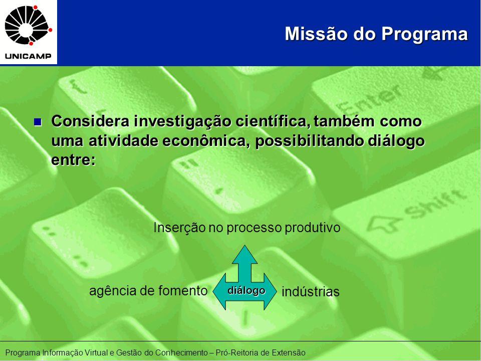 n Considera investigação científica, também como uma atividade econômica, possibilitando diálogo entre: indústrias agência de fomento Inserção no processo produtivo diálogo Missão do Programa Programa Informação Virtual e Gestão do Conhecimento – Pró-Reitoria de Extensão